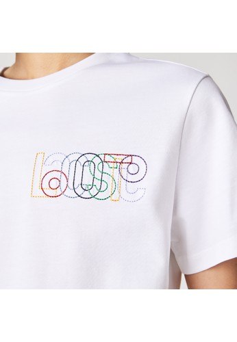 Lacoste white Women's Crew Neck Embroidered Multicolor Lettering Cotton T-shirt 0A46BAA8AC7544GS_1