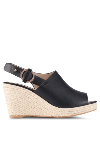ZALORA black Back Buckle-Up Wedges F8C2BSHE7C214CGS_1