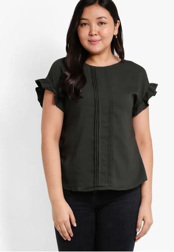 Ex'otico green Plus Size Short Sleeve Pindarts Blouse EX373AA43NZWMY_1