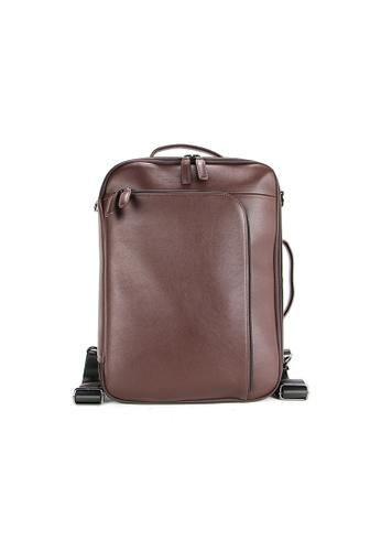 Alef brown Alef Madrid 3-Way Briefcase in Brown 6CB28ACD83D9CEGS_1