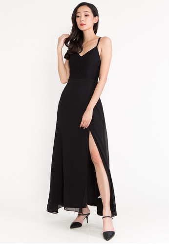 BEBEBEIGE black BebeBeige V Neckline Sleeveless Walking Slit Evening Maxi Long Dinner Dress ACEDFAA1E507BDGS_1