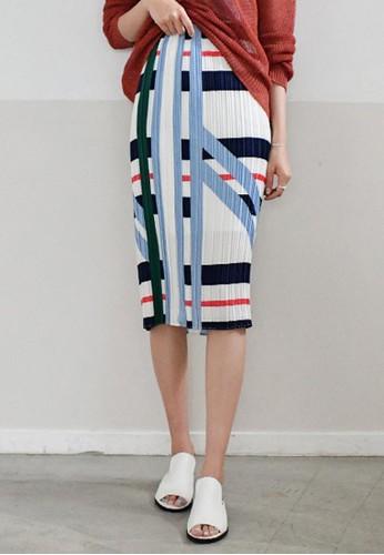 esprit台灣門市色彩混搭百褶中裙, 服飾, 及膝裙