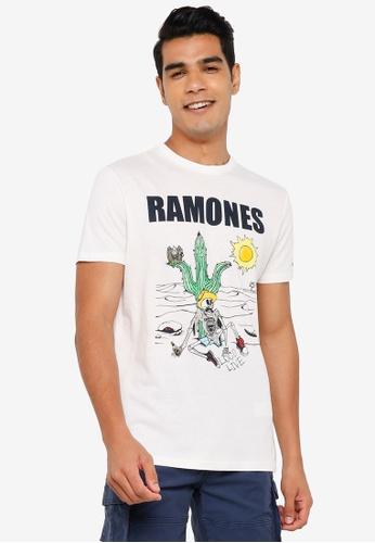 Springfield white Ramones T-Shirt EF1E7AA026C603GS_1
