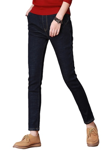 A-IN GIRLS navy Jeans With Elastic Waist And Feet (Plus Velvet) 91AD0AA055DC29GS_1