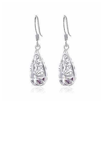 Glamorousky purple Elegant 925 Sterling Silver Pierced Earrings with Purple Cubic Zircon DBCEAAC7227479GS_1