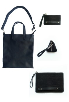 Set of Blue Leatherette Sling Bag, Tablet Sleeve, Mobile Phone Pouch and Coin Purse - One Size