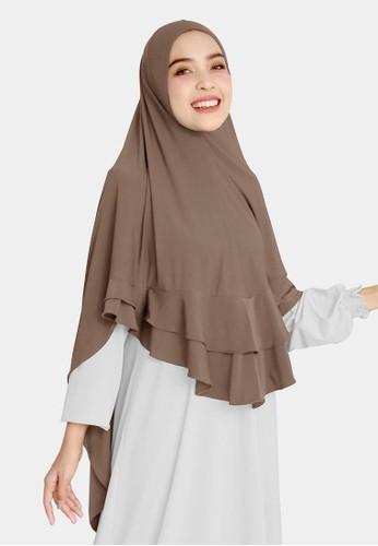 zelena brown Bergo Ummayah Basic Syari - Brown Cedar 12C1AAA8BF399BGS_1