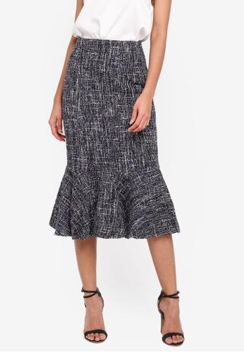 MDSCollections black Bodycon Tweed Skirt In Black B5F3EAA1C1E2FEGS_1