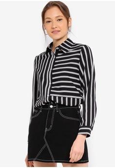 060601a9 ZALORA BASICS black and multi Basic Stripes Blocked Shirt 0070CAA7BA1B09GS_1