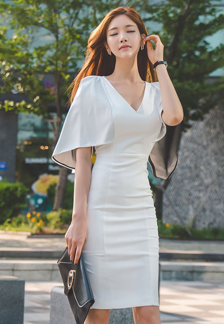 Polyester UA040315 2017 white S Sunnydaysweety S Choice Elegant Dress Lady Work White 4qxS6wYx