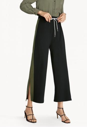 ce5fe0c582cad Pomelo black Drawstring Side Slits Pants - Black D25B7AA0E0D0EEGS_1