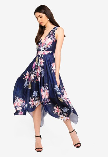 Lace & Beads navy Reese Dress Floral Print Dress 300C0AAB222A6BGS_1