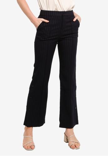 Hopeshow navy Button Slit Striped Pants E356AAA171C8C7GS_1