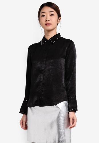 Something Borrowed black Studded Satin Shirt 59EEFAAB7F997BGS_1
