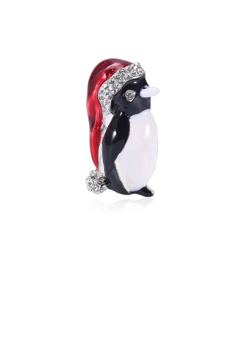 Glamorousky white Simple and Cute Christmas Hat Penguin Brooch with Cubic Zirconia 94B35ACCFE9661GS_1