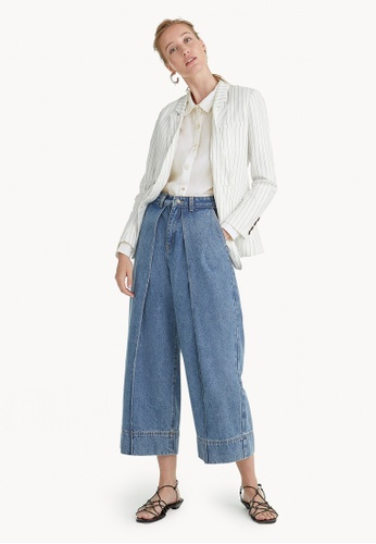 Pomelo blue Premium Cotton Fold Over High Waisted Jeans 976D4AAEC60E12GS_1