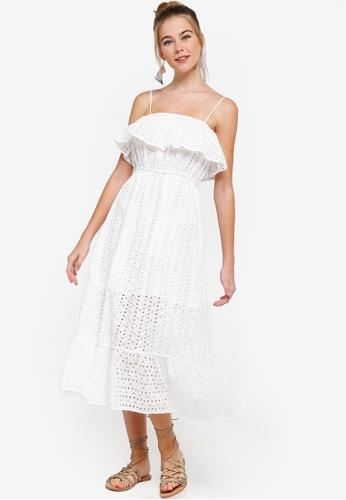 Something Borrowed white Ruffled Cami Midi Dress D3B0CAA0BBFEE0GS_1