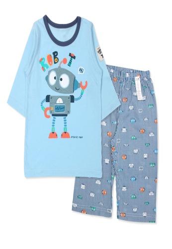 Organic mom blue Organic Cotton Joseph Robot 3/4 Sleeves Pjs A521DKAF51AA6FGS_1