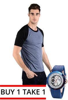 Newyork Army Men's Baseball Raglan T-shirt black/blue-buy 1 take 1