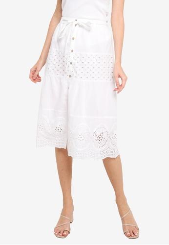 Brave Soul white Midi Broderie Anglaise Skirt 52FBEAA08DE659GS_1