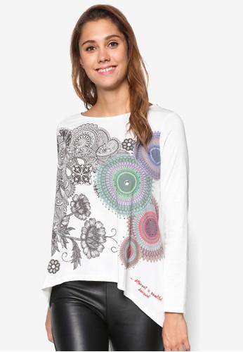 Angela 印花寬鬆長袖esprit暢貨中心衫, 服飾, 上衣