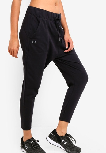 Under Armour black Favorite Terry Taper Slouch Bottoms CA9E6AA1D7F245GS_1