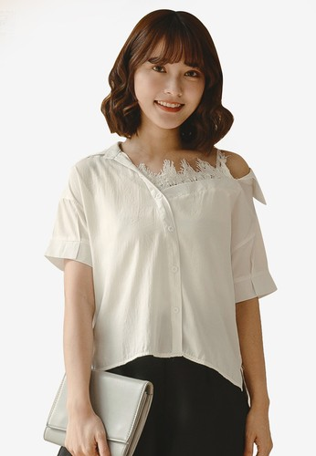Tokichoi white V-Neck Lace Detail Blouse 21242AA1D6A2DBGS_1