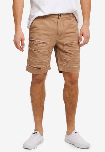 Flesh IMP brown and beige Distressed Groot Shorts FL064AA0SJO0MY_1