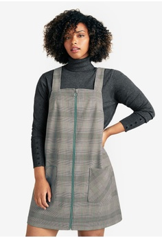 b8410335a3c4b Violeta by MANGO grey Plus Size Prince Of Wales Pinafore Dress  5664DAA0C29D4FGS 1
