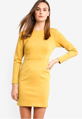 cf4bc4e8cce4 ZALORA BASICS yellow Basic Long Sleeves Bodycon Dress 00750AAC0C7D06GS 1