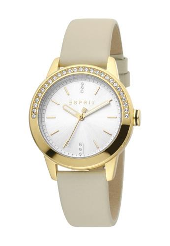 Esprit gold ESPRIT [Vic] 34mm Vanilla Leather Strap Women Watch [ES1L136L0045] 6A13DACFDB2EC0GS_1