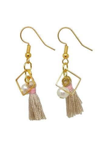 Fur Nyce brown Tassel and Pearl Drop Earrings 9CA04ACF2BFECAGS_1