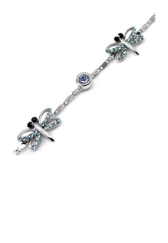 Glamorousky blue Elegant Dragonfly Bracelet with Blue Austrian Element Crystal 1938AACAB4D690GS_1