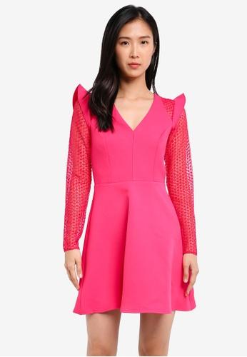 River Island pink Lace Insert Frill Skater Dress RI009AA0SITXMY_1