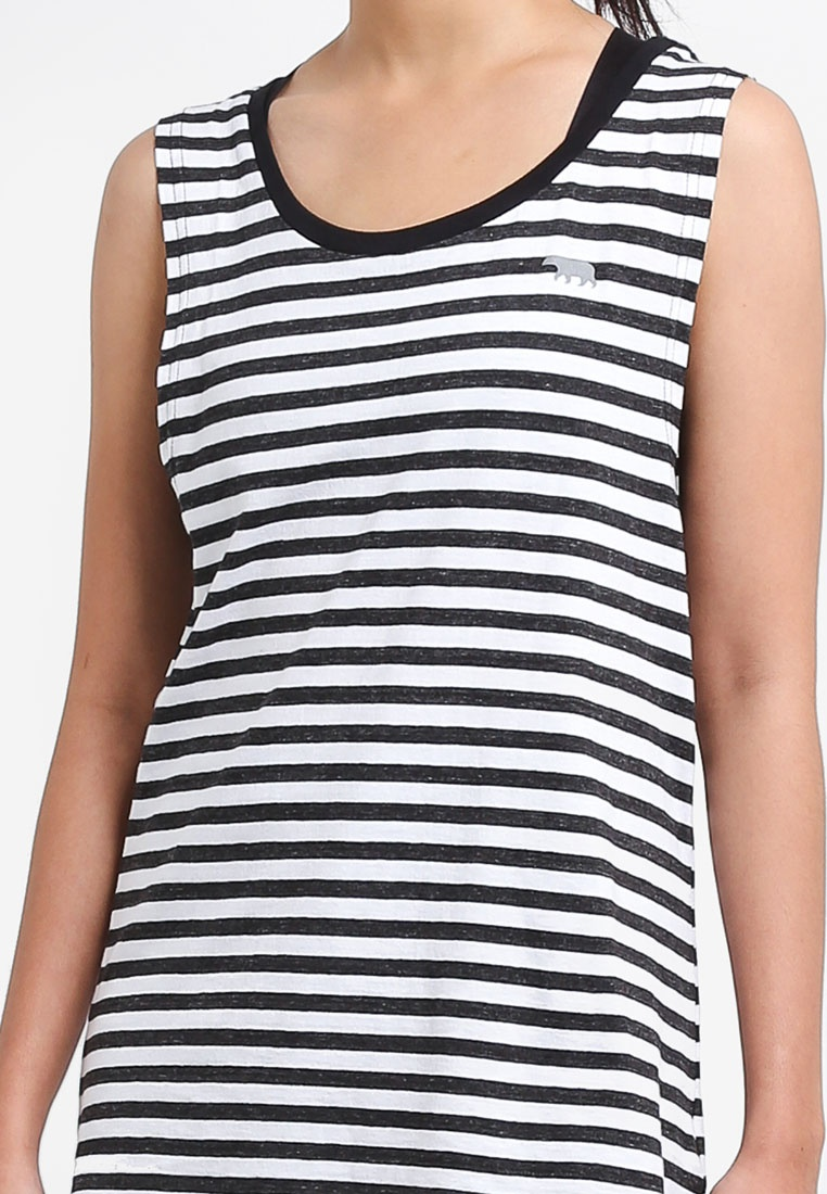 White Top Tank Bare Running Black Muscle Stripe PxZqRUTvw