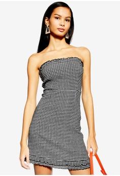 6316879012 TOPSHOP black Check Bandeau Mini Dress E1C8AAAA09601DGS 1