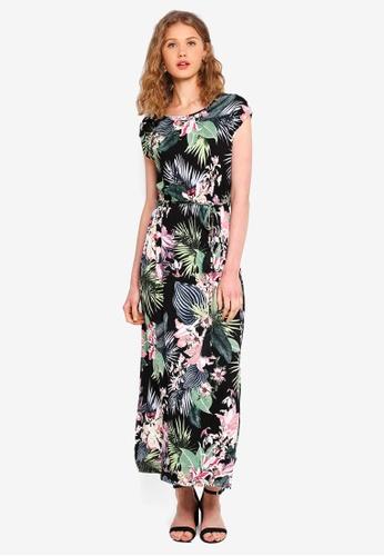 Dorothy Perkins black Petite Black Tropical Maxi Dress 0AEA7AA9142D8FGS_1