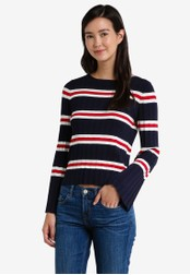 Mango blue and navy Striped Embossed Sweater MA193AA0RAUHMY_1