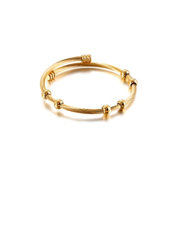 Glamorousky silver Fashion and Simple Plated Gold Geometric Bead 316L Stainless Steel Bangle 4CB59AC8A2C865GS_1
