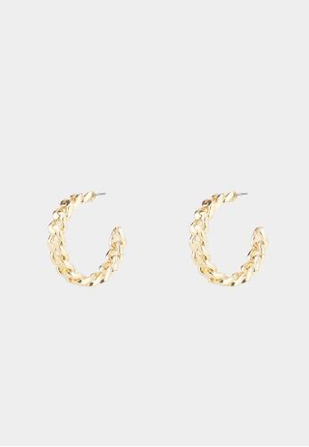 Pomelo gold Chain Open Hoop Earrings - Gold 8B244ACA3580FCGS_1