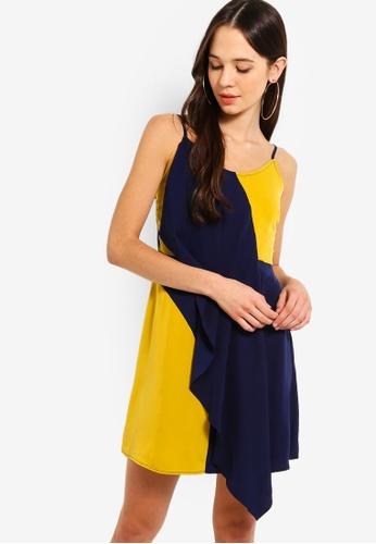 Something Borrowed 黃色 and 海軍藍色 2 Tone Ruffles Wrap Dress 1B071AA007FFBDGS_1