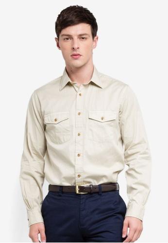 Brooks Brothers 米褐色 長袖口袋襯衫 76CFCAA2BCDDDEGS_1