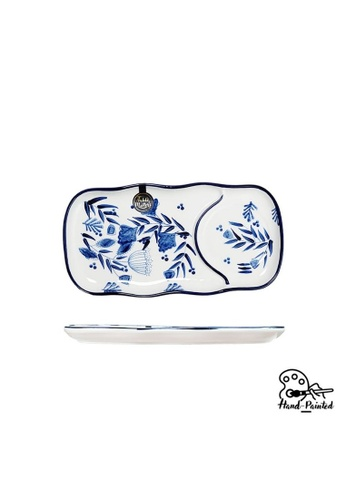 Table Matters multi Rosemary Blue  - Hand Painted 12 inch Rectangle Compartment Plate 25F44HLEBC291BGS_1