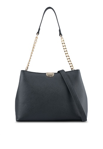 ZALORA black Structured Hobo Bag With Chain Handle 7618BZZE89FAB7GS_1