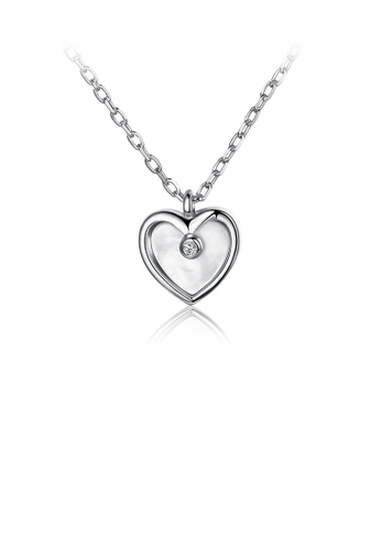 Glamorousky white 925 Sterling Silver Elegant Romantic Heart Shape Pendant Necklace with Cubic Zircon ED266AC98EA9CDGS_1