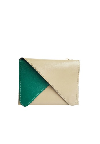 LIVLOLA green and brown and beige Lila Slim Leather Wallet LI657AC0S2TGMY_1