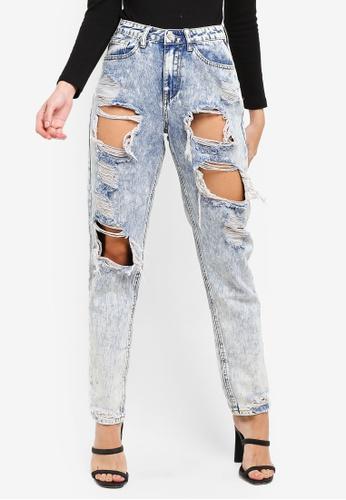 MISSGUIDED blue Bleach Riot High Rise Ripped Mom Jeans 5653CAAC962B78GS_1