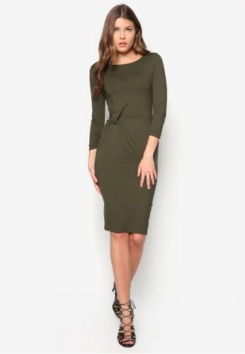 扭結長袖連身裙, 服飾, 洋zalora 衣服尺寸裝