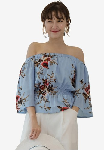 Tokichoi blue and multi Floral Off Shoulder Top 233ACAA814578CGS_1