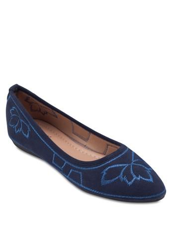zalora 手錶繡花麂皮平底鞋, 女鞋, 鞋
